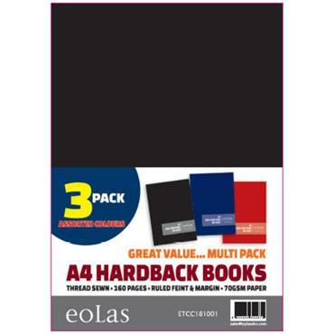 Solid Hardback  A4 160Pg 3 Pack