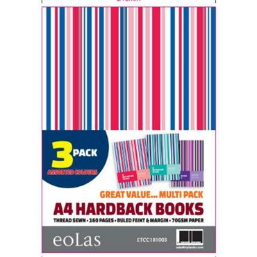 Stripe Hardback A4 160Pg 3 Pack