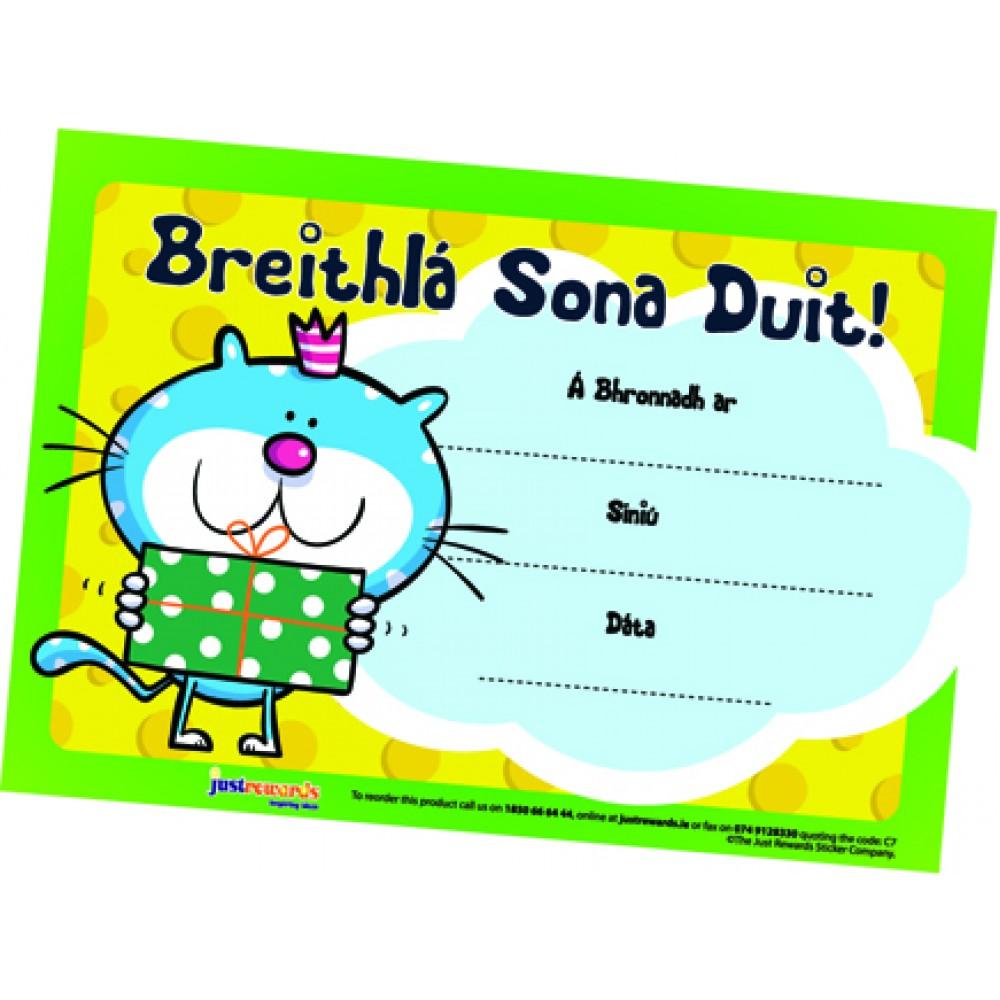 Breithla Sona Duit Certificates