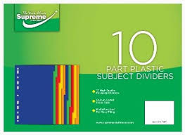 Subject Dividers 10 Pack (Part Plastic)