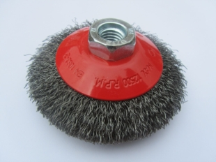 CRIMPED WIRE BEVEL BRUSH 100MM DIAMETER WITH M14 THREAD FOR GRINDERS