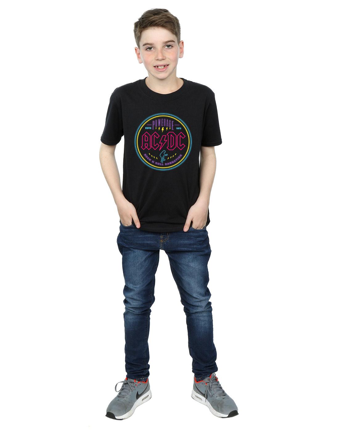 AC-DC-ninos-Circle-Neon-Camiseta