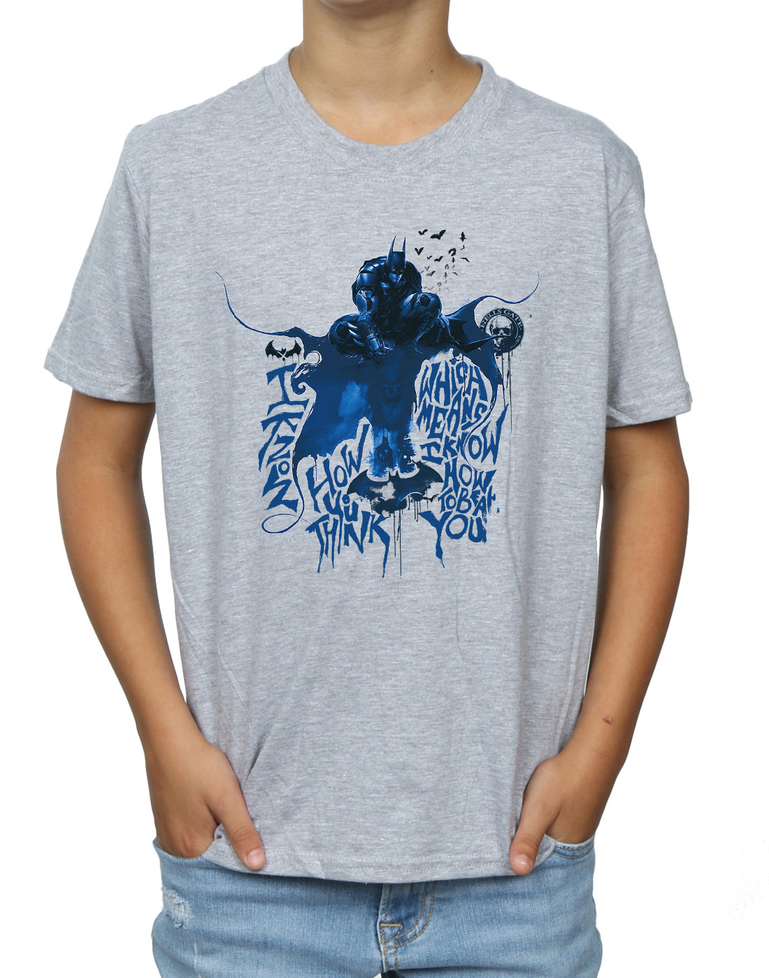 DC-Comics-Jungen-Batman-Arkham-Knight-Think-T-Shirt