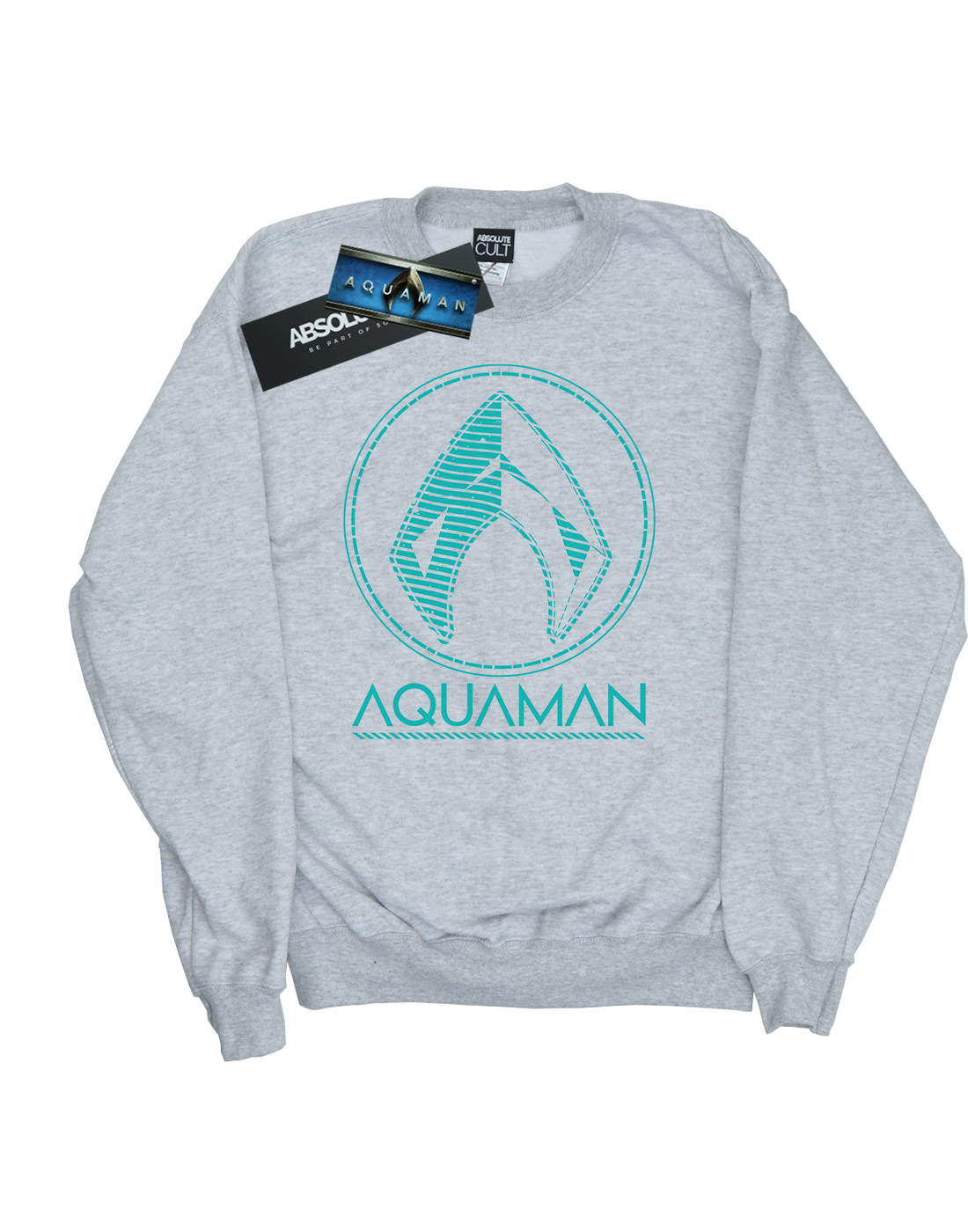 DC-Comics-Men-039-s-Aquaman-Aqua-Logo-Sweatshirt thumbnail 8