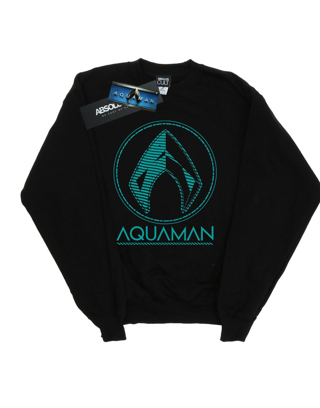 DC-Comics-Men-039-s-Aquaman-Aqua-Logo-Sweatshirt thumbnail 5