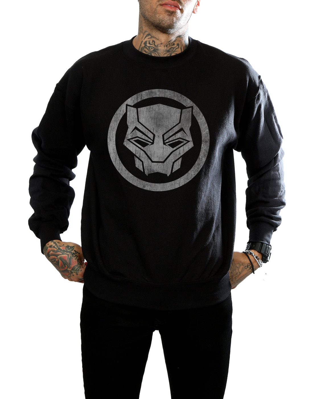 Uomo Black Felpa Distressed Panther Icon Marvel dABSznA