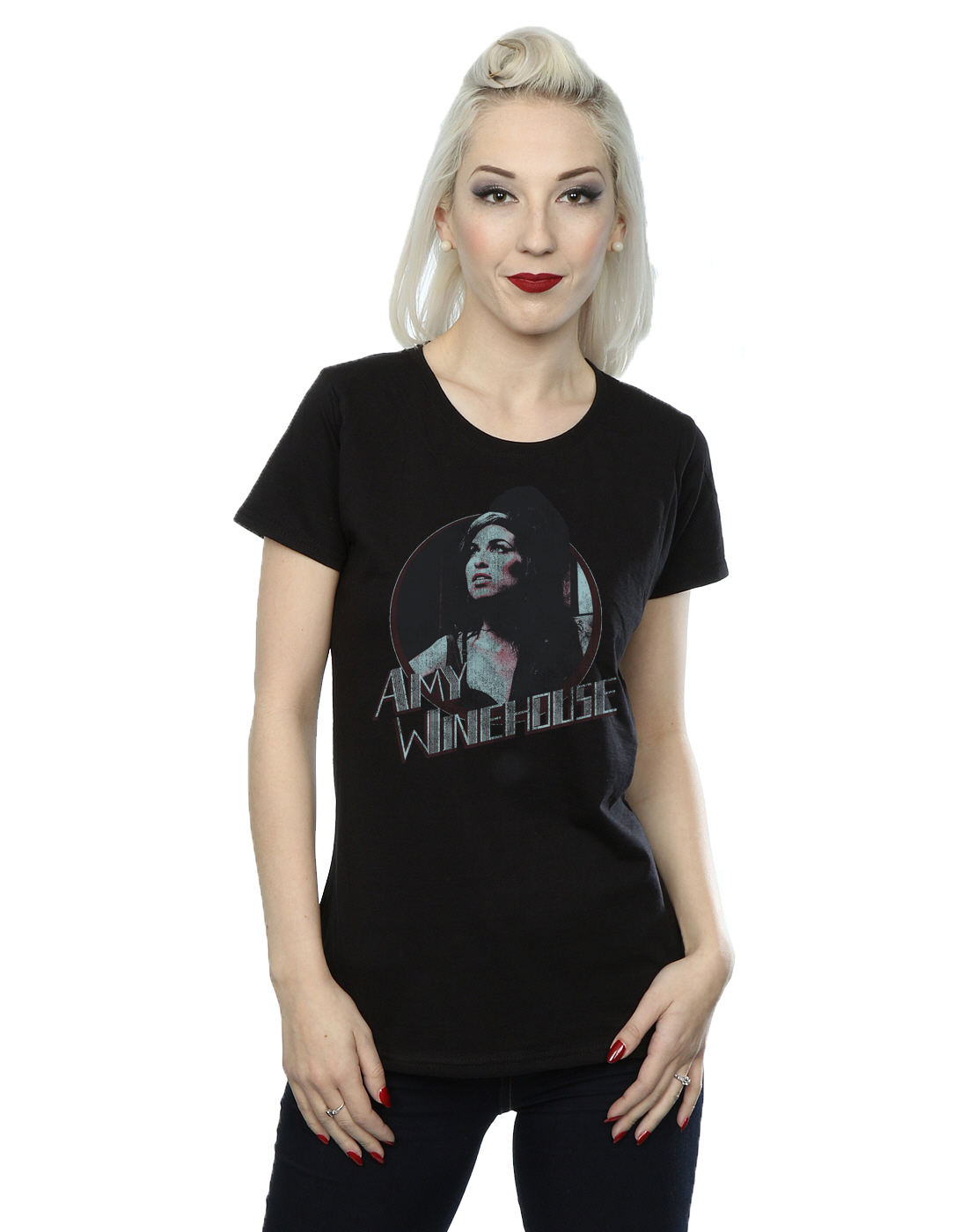 89508dc4c0a La imagen se está cargando Amy-Winehouse-mujer-Distressed-Circle-Camiseta