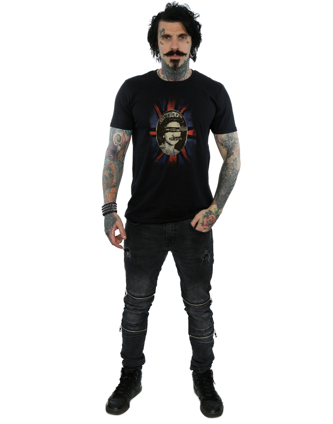 SEX-Pistols-UOMO-GOD-SAVE-THE-QUEEN-t-shirt miniatura 10
