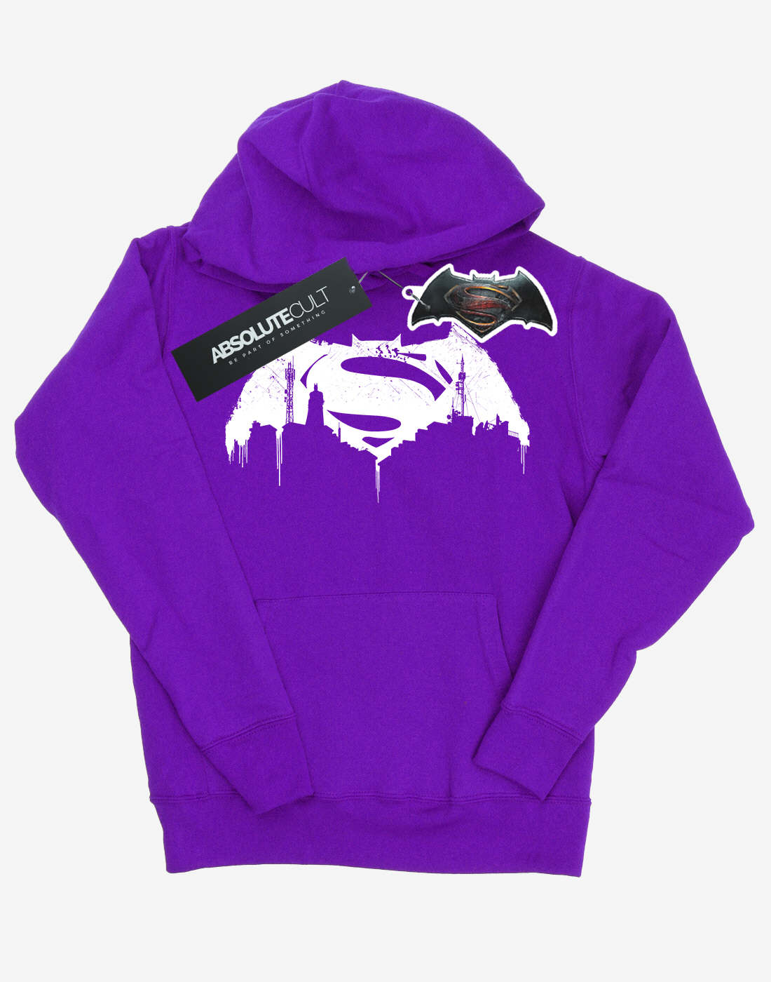 DC-Comics-Women-039-s-Batman-v-Superman-Beaten-Logo-Hoodie miniature 2
