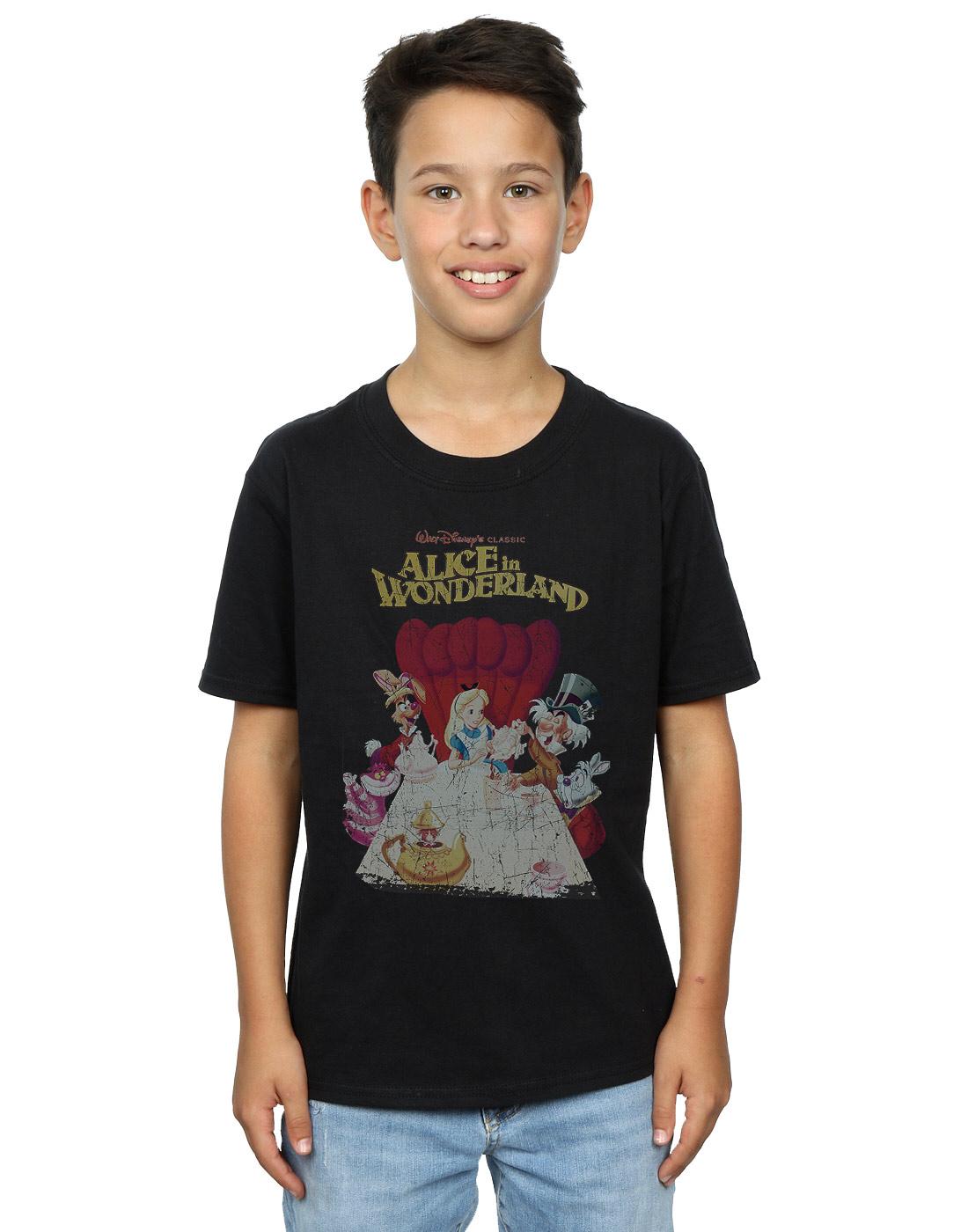 Disney-Jungen-Alice-In-Wonderland-Retro-Poster-T-Shirt