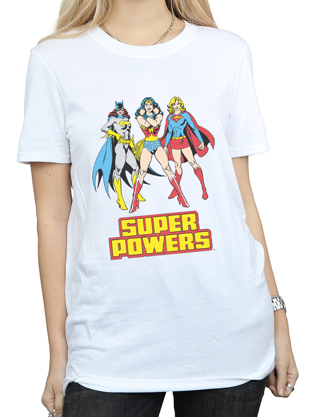 DC-Comics-Damen-Wonder-Woman-Super-Power-Group-Boyfriend-Fit-T-Shirt