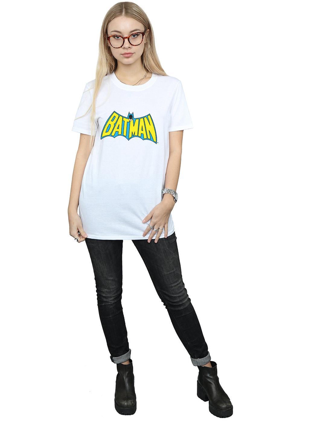 DC-Comics-Women-039-s-Batman-Retro-Logo-Boyfriend-Fit-T-Shirt-White-Medium