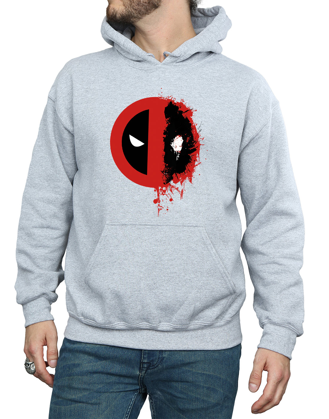 Marvel-Homme-Deadpool-Split-Splat-Logo-Sweat-A-Capuche