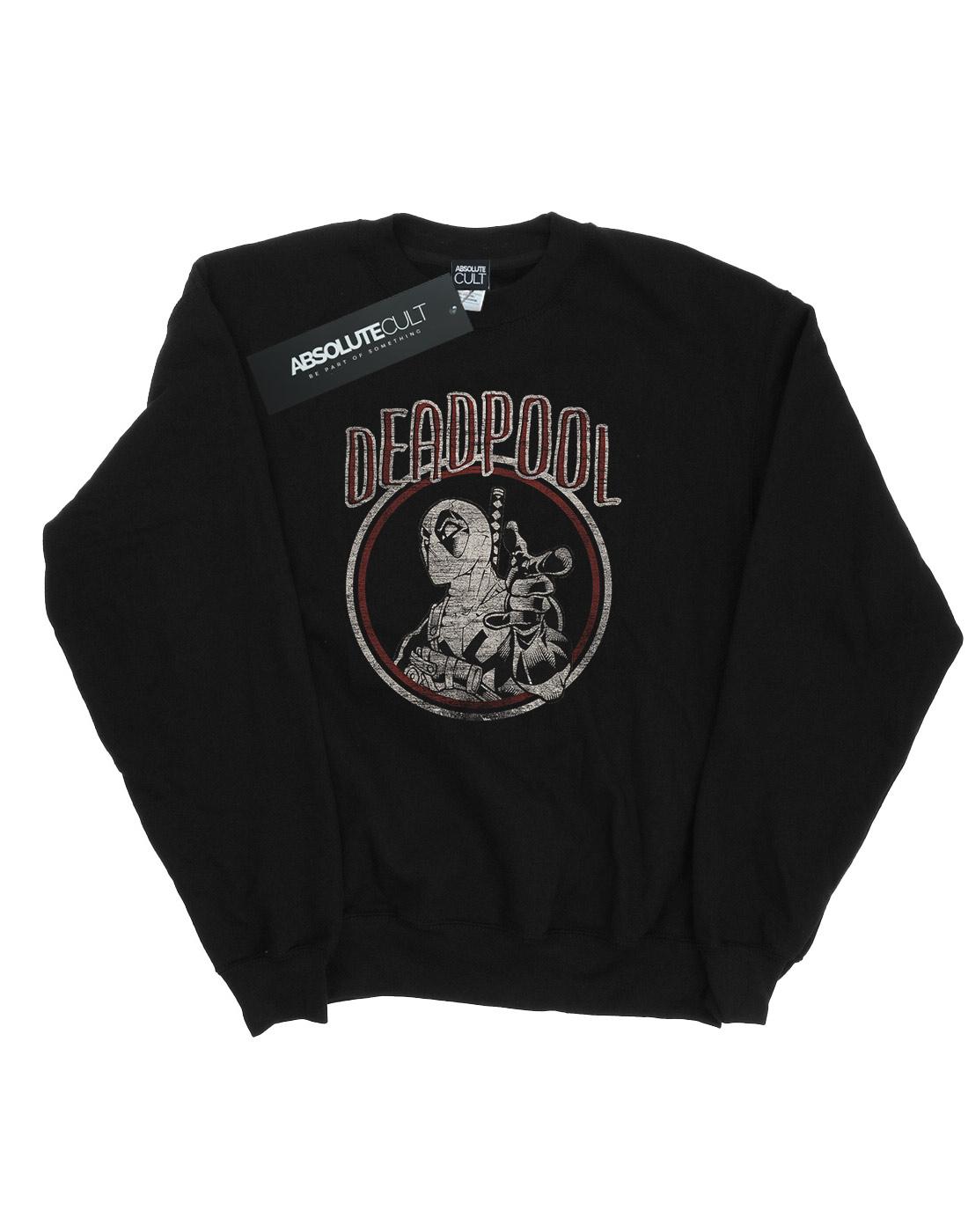 Vintage Felpa Deadpool Uomo Circle Marvel TOpwRqaExn