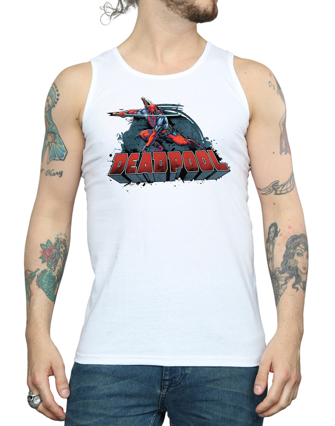 Marvel-Men-039-s-Deadpool-Sword-Logo-Tank-Top thumbnail 19