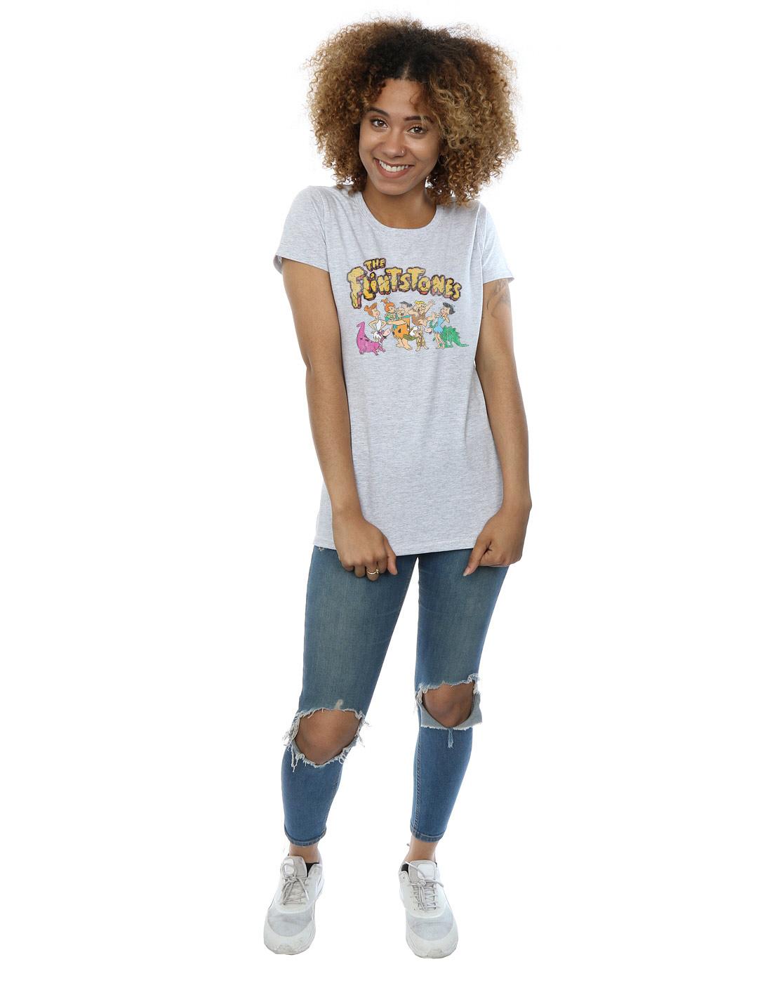 The-Flintstones-Women-039-s-Group-Distressed-T-Shirt thumbnail 15