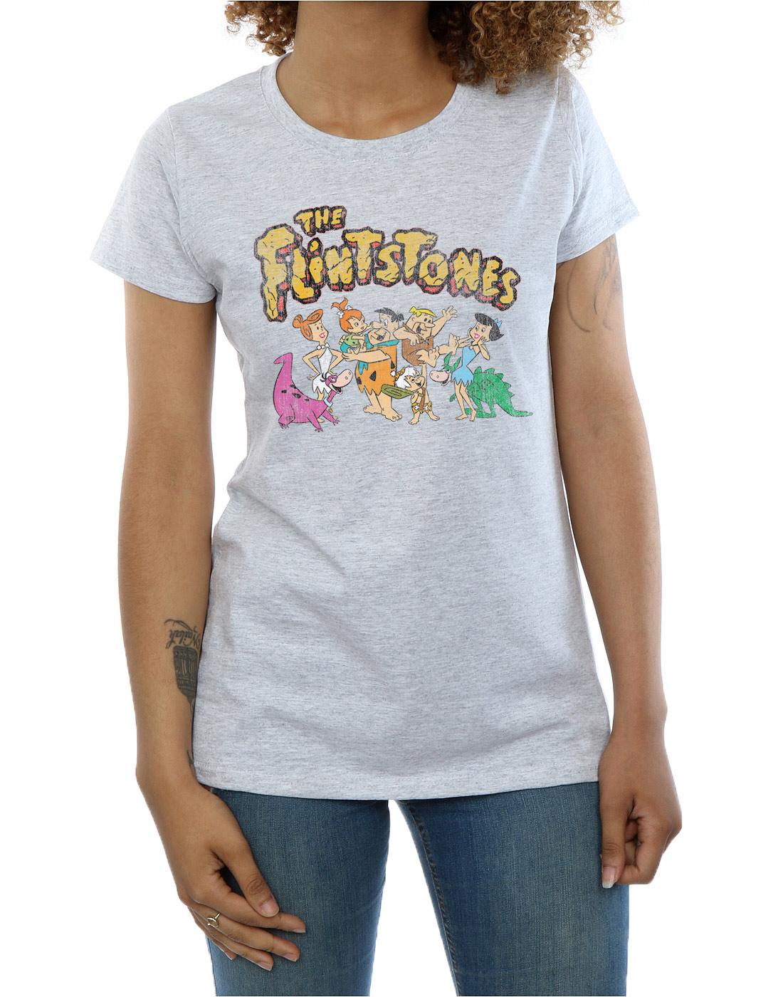 The-Flintstones-Women-039-s-Group-Distressed-T-Shirt thumbnail 14