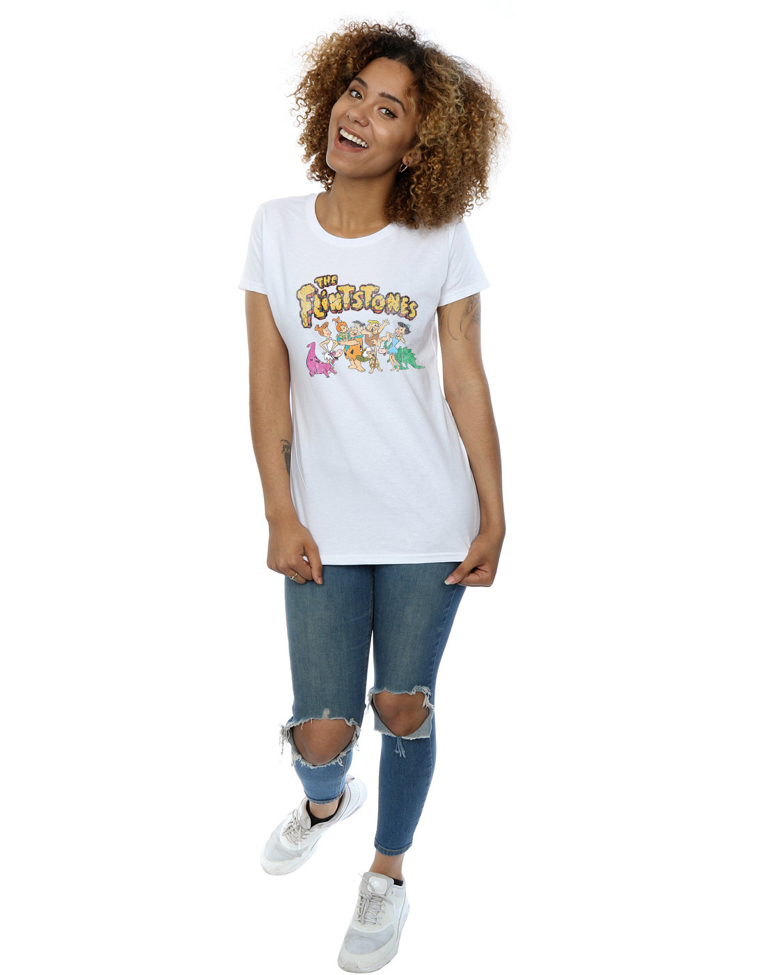 The-Flintstones-Women-039-s-Group-Distressed-T-Shirt thumbnail 20