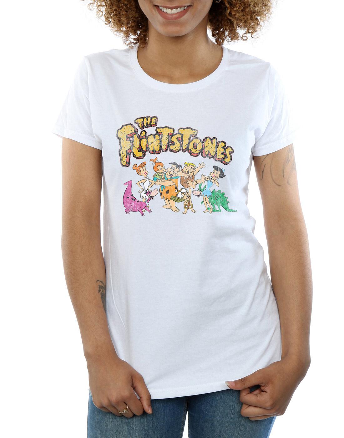 The-Flintstones-Women-039-s-Group-Distressed-T-Shirt thumbnail 19