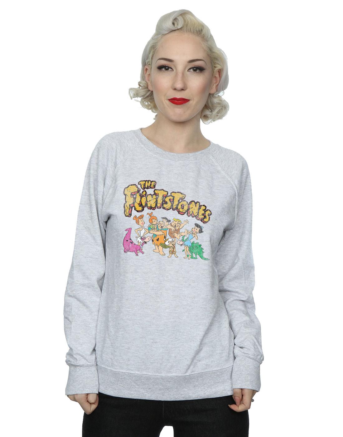 The-Flintstones-mujer-Group-Distressed-Camisa-De-Entrenamiento