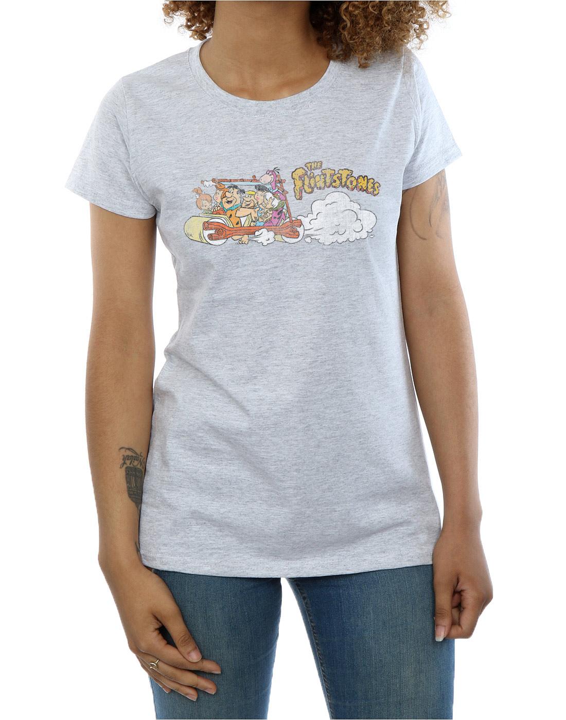 The-Flintstones-Women-039-s-Family-Car-Distressed-T-Shirt thumbnail 14
