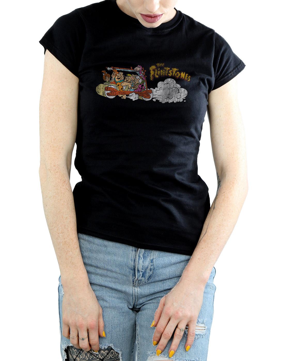 The-Flintstones-Women-039-s-Family-Car-Distressed-T-Shirt thumbnail 9