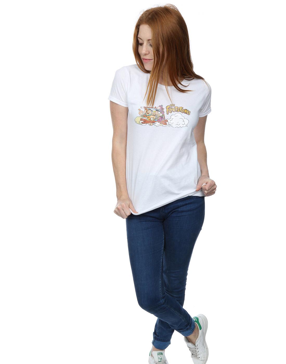 The-Flintstones-Women-039-s-Family-Car-Distressed-T-Shirt thumbnail 20