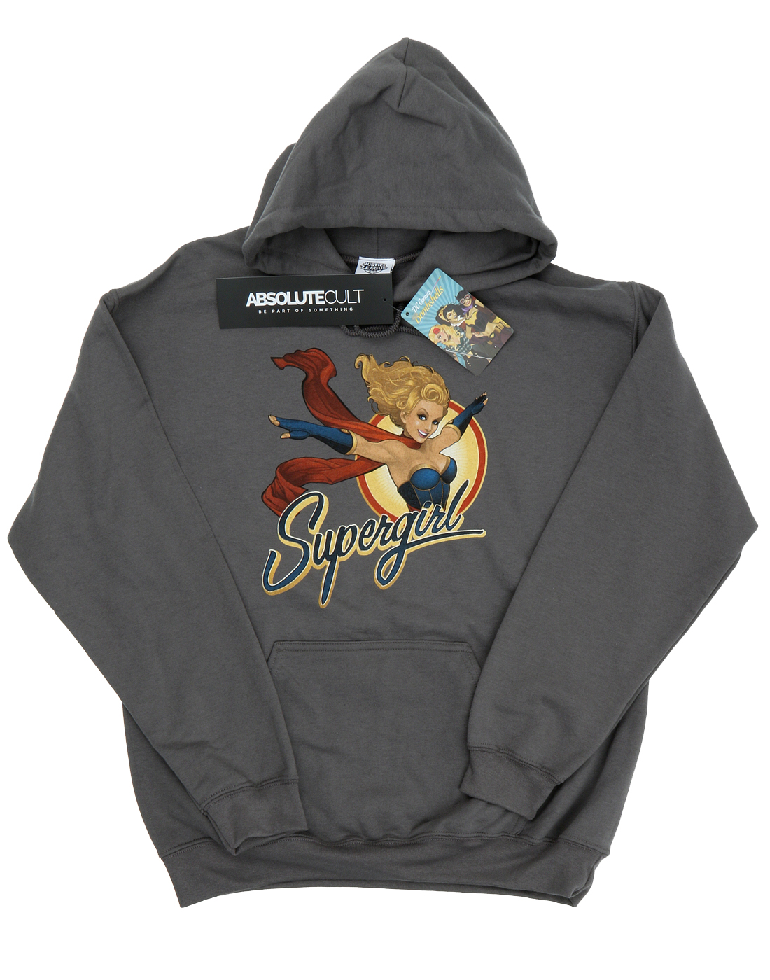 DC Comics Men/'s Bombshells Supergirl Badge Grey Hoodie Official Licensed