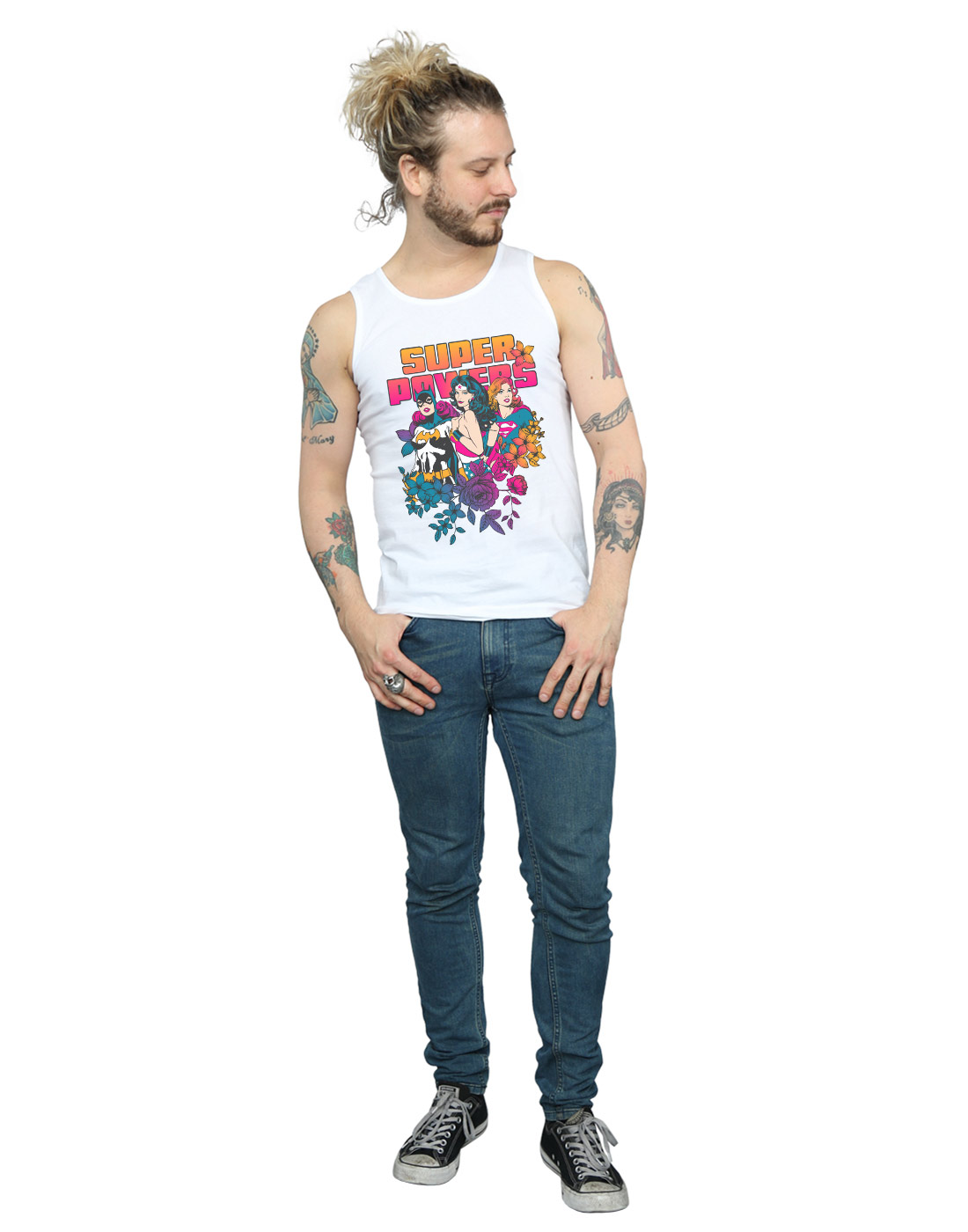 36e95d452b8d0 DC Comics Men s Super Powers Neon Floral Tank Top