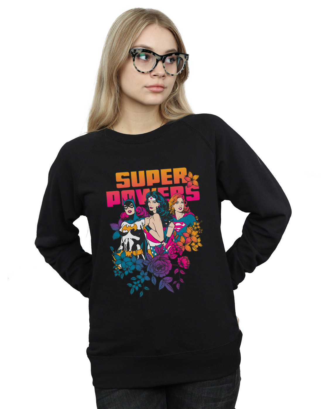 Floral Powers Super Comics Donna Dc Felpa Neon qOzTxw