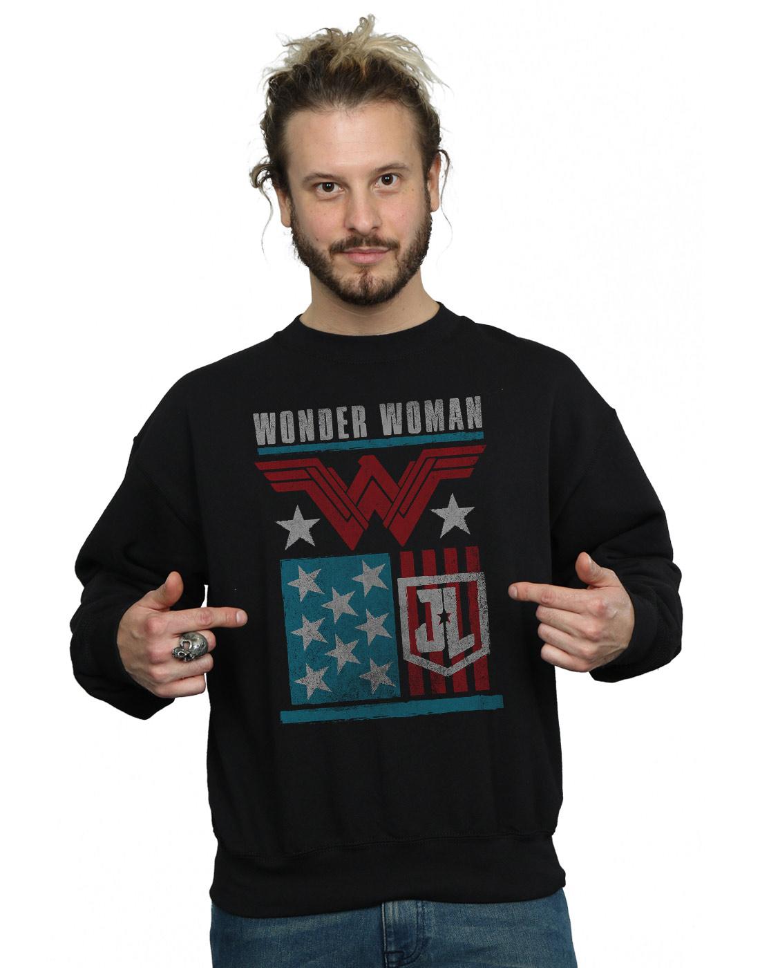 DC Comics Homme Sweat-Shirt Justice League Movie Wonder Woman Flag Sweat-Shirt Homme f3ec9d
