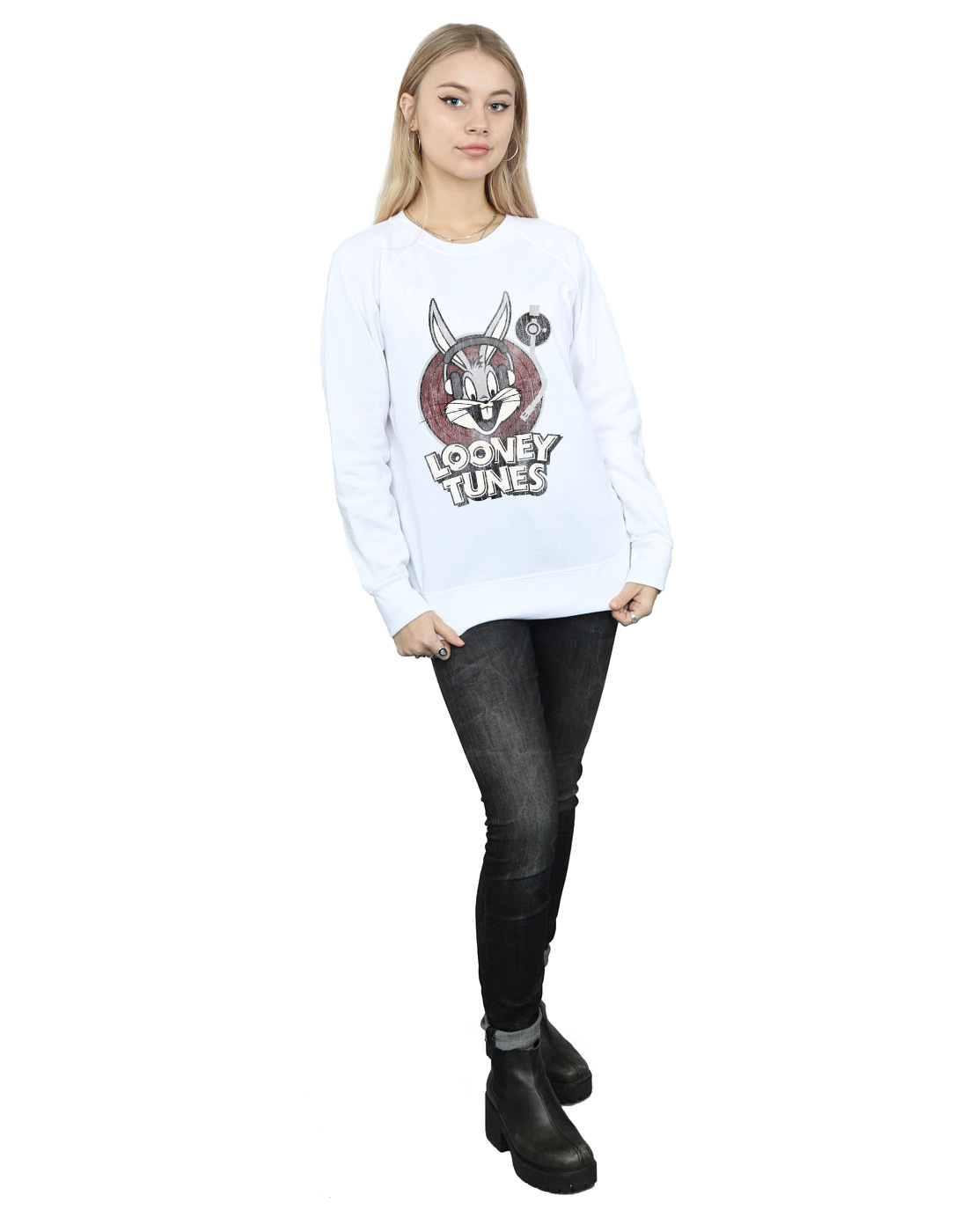 Looney Tunes Tunes Tunes Damen Bugs Bunny Circle Logo Sweatshirt | Garantiere Qualität und Quantität  | Nicht so teuer  | Angenehmes Aussehen  | Louis, ausführlich  | Kostengünstiger  3d30ab