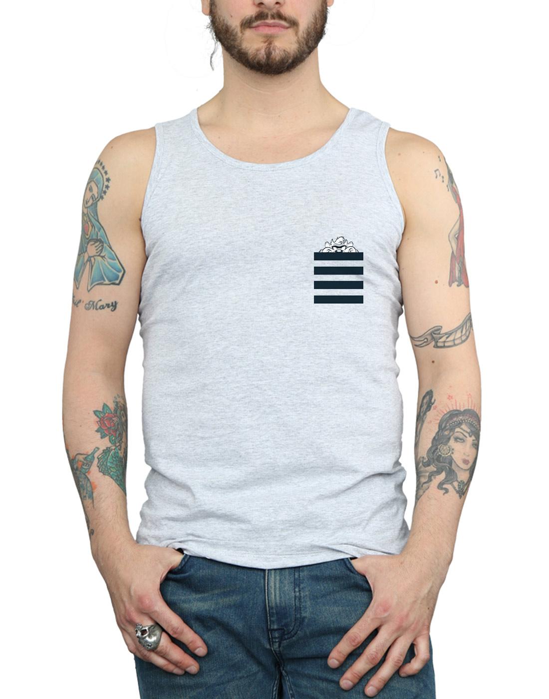 Looney-Tunes-Men-039-s-Taz-Stripes-Faux-Pocket-Vest