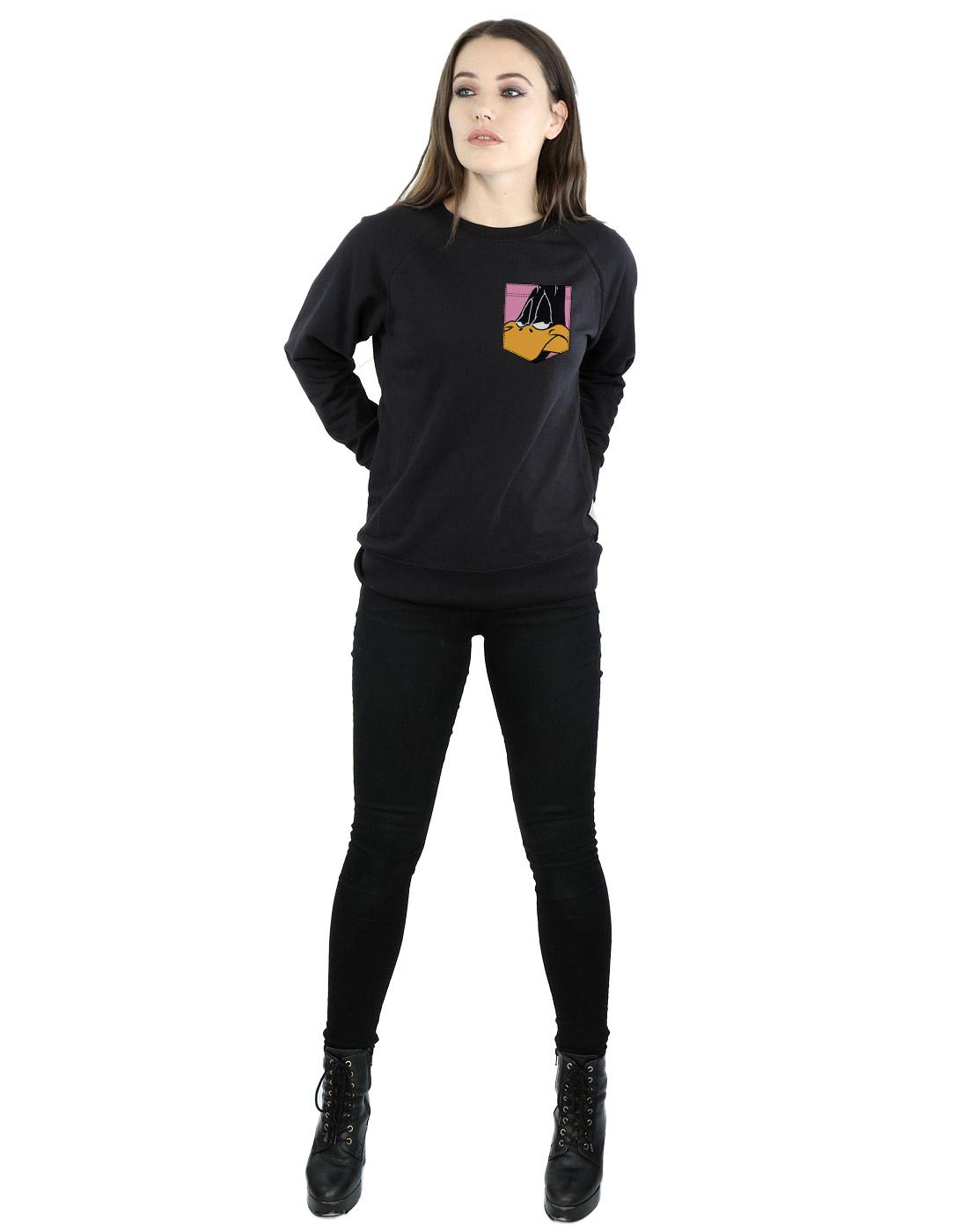 Looney Tunes Girls Daffy Duck Face Faux Pocket Sweatshirt