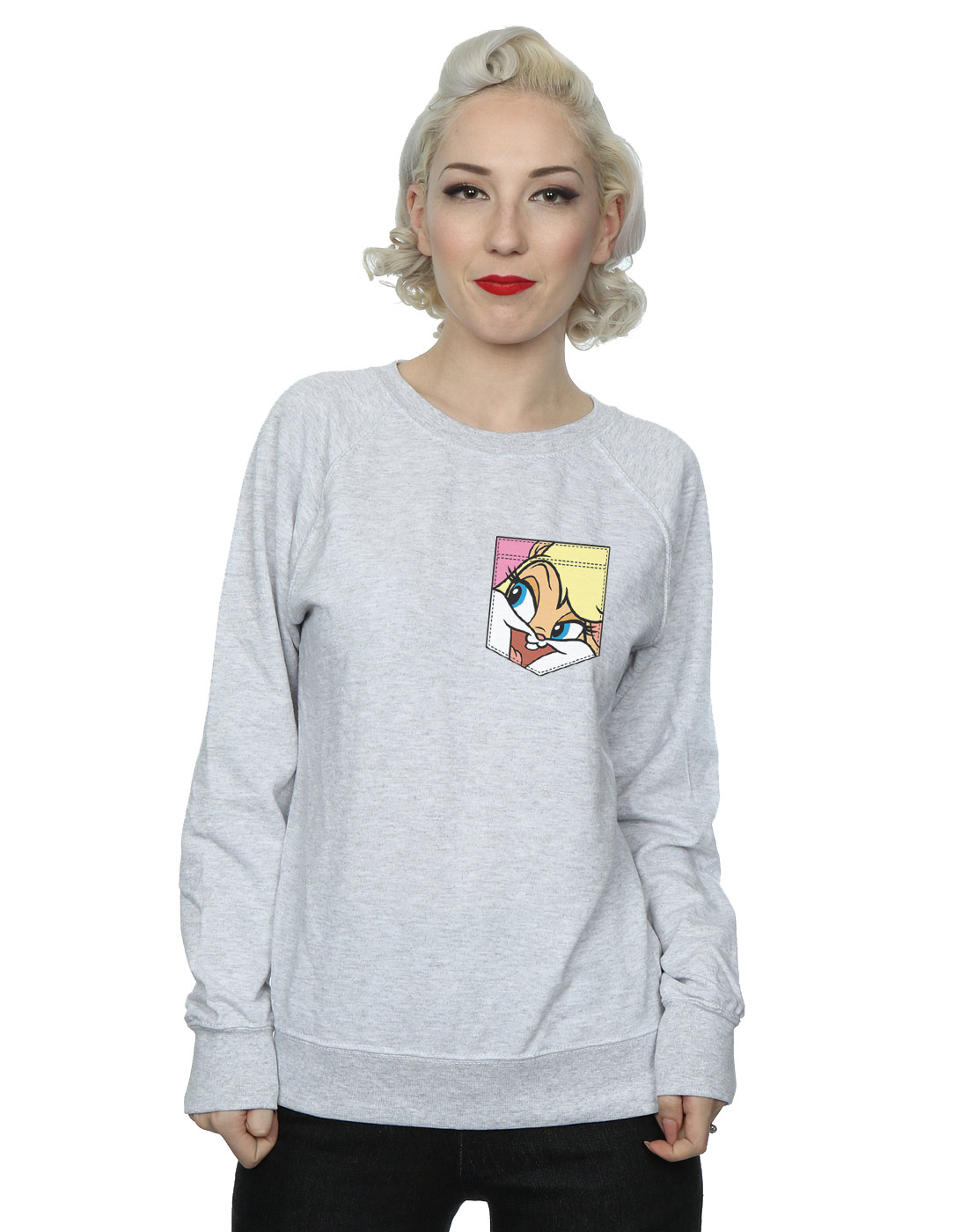 Looney-Tunes-mujer-Lola-Bunny-Face-Faux-Pocket-Camisa-De-Entrenamiento