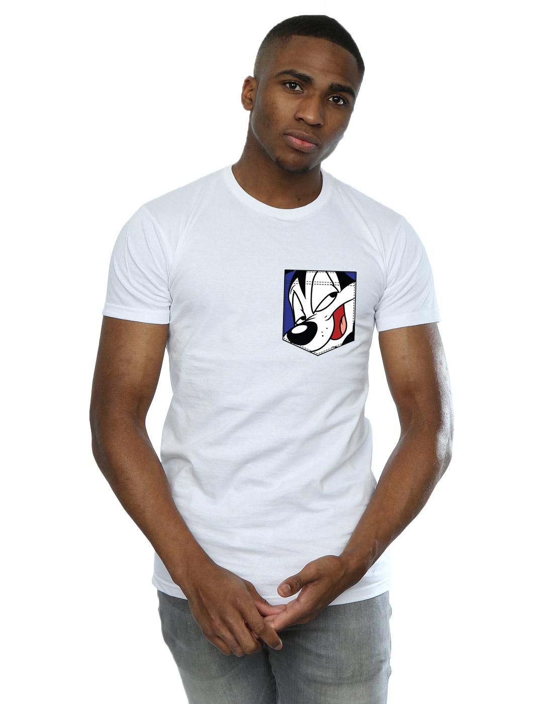 Hombre Pocket Looney Detalles Pepe Le De Tunes Camiseta Pew Faux Face 3RLq54Aj