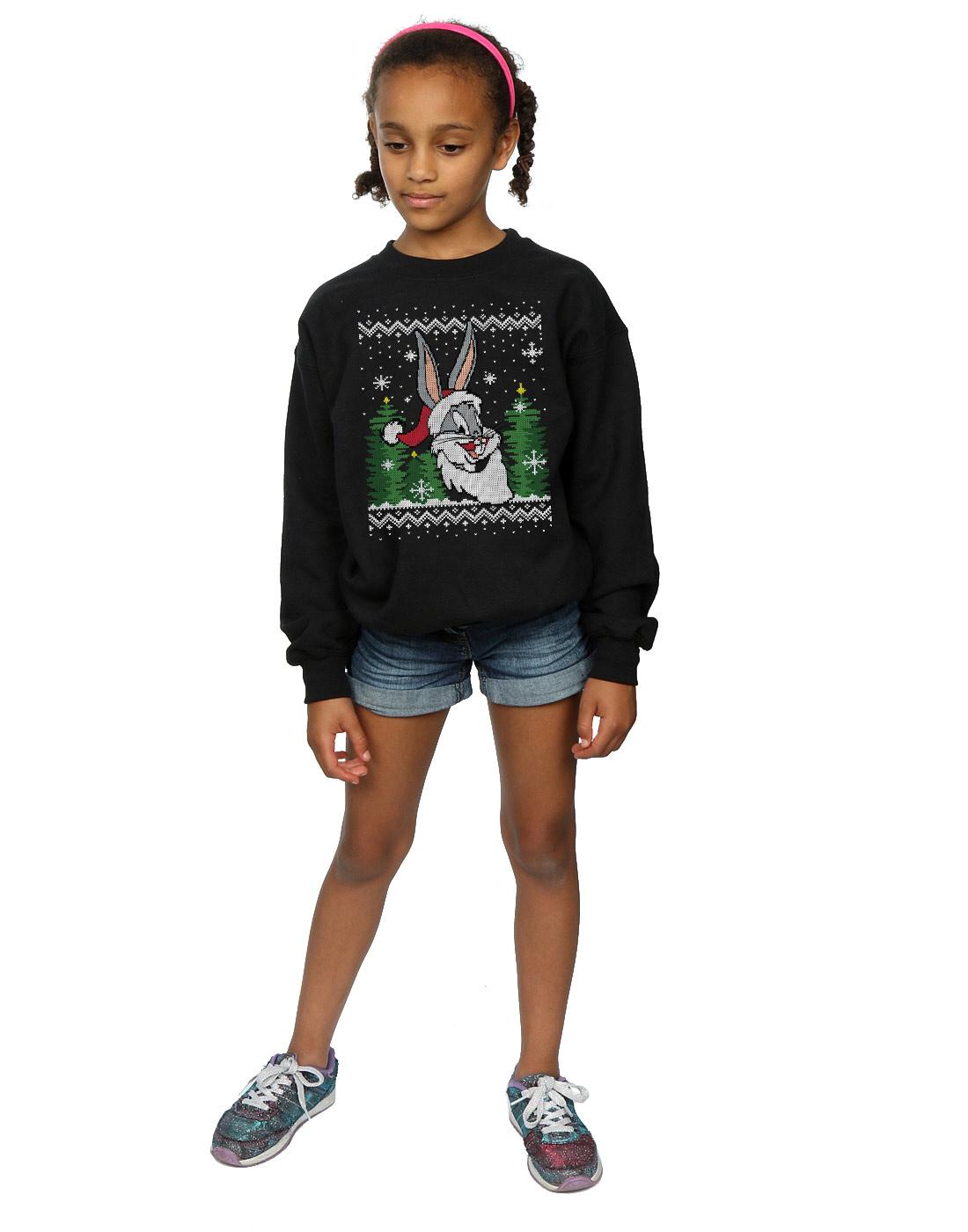 Absolute Cult Looney Tunes Girls Christmas Postcard Sweatshirt