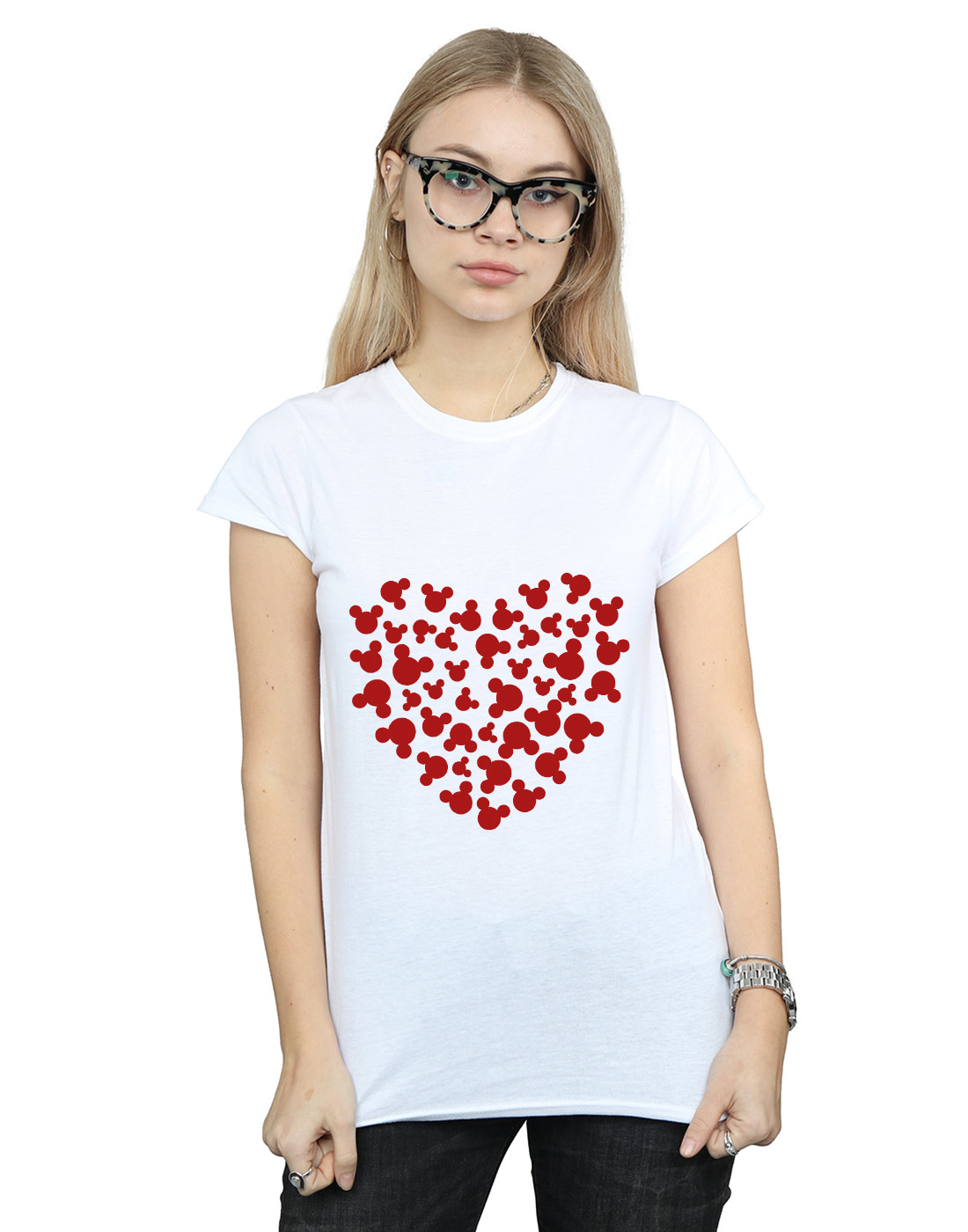 Disney-Women-039-s-Mickey-Mouse-Heart-Silhouette-T-Shirt