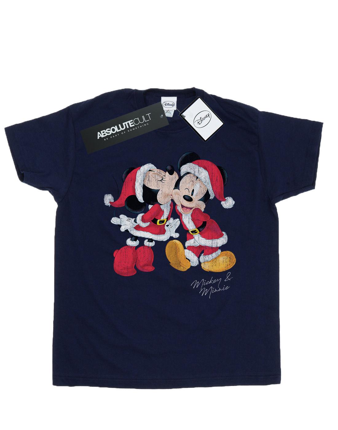 Disney-Women-039-s-Mickey-and-Minnie-Christmas-Kiss-Boyfriend-Fit-T-Shirt
