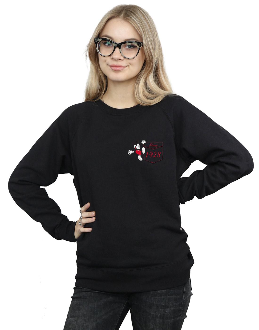 Disney-Mujer-Mickey-Mouse-Faux-Pocket-Since-1928-Camisa-De-Entrenamiento