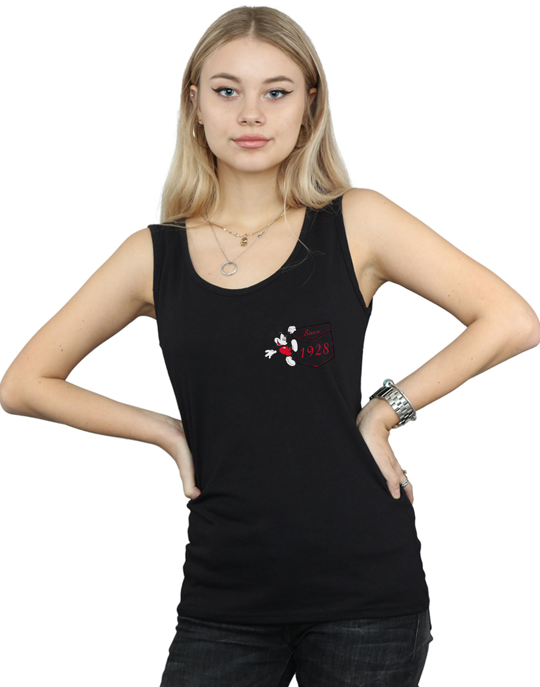 Disney-Mujer-Mickey-Mouse-Faux-Pocket-Since-1928-Camiseta-Sin-Mangas