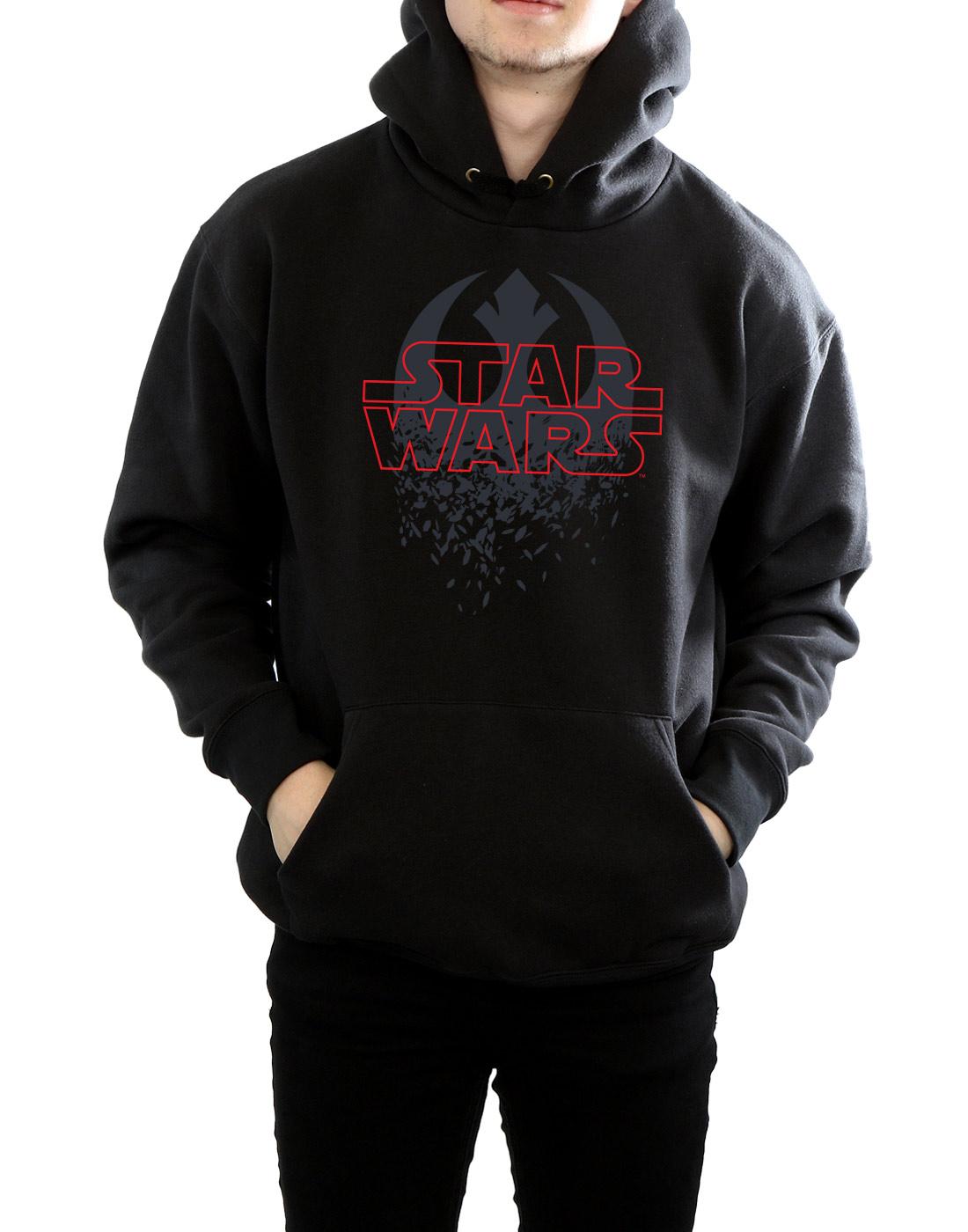 Star-Wars-para-hombre-la-ultima-Jedi-destrozado-emblema-con-Capucha miniatura 9