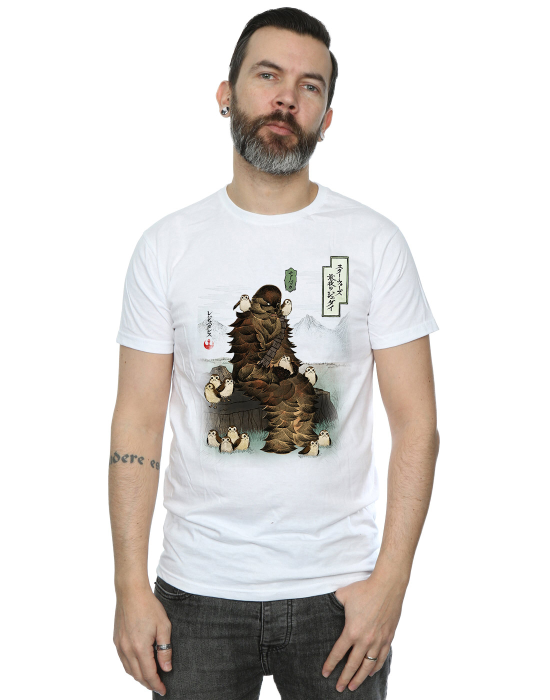 Star-Wars-Men-039-s-The-Last-Jedi-Japanese-Chewbacca-Porgs-T-Shirt