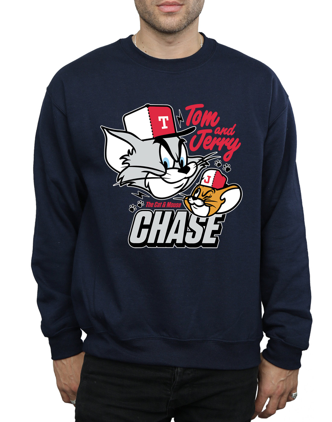 Tom-And-Jerry-Homme-Cat-amp-Mouse-Chase-Sweat-Shirt