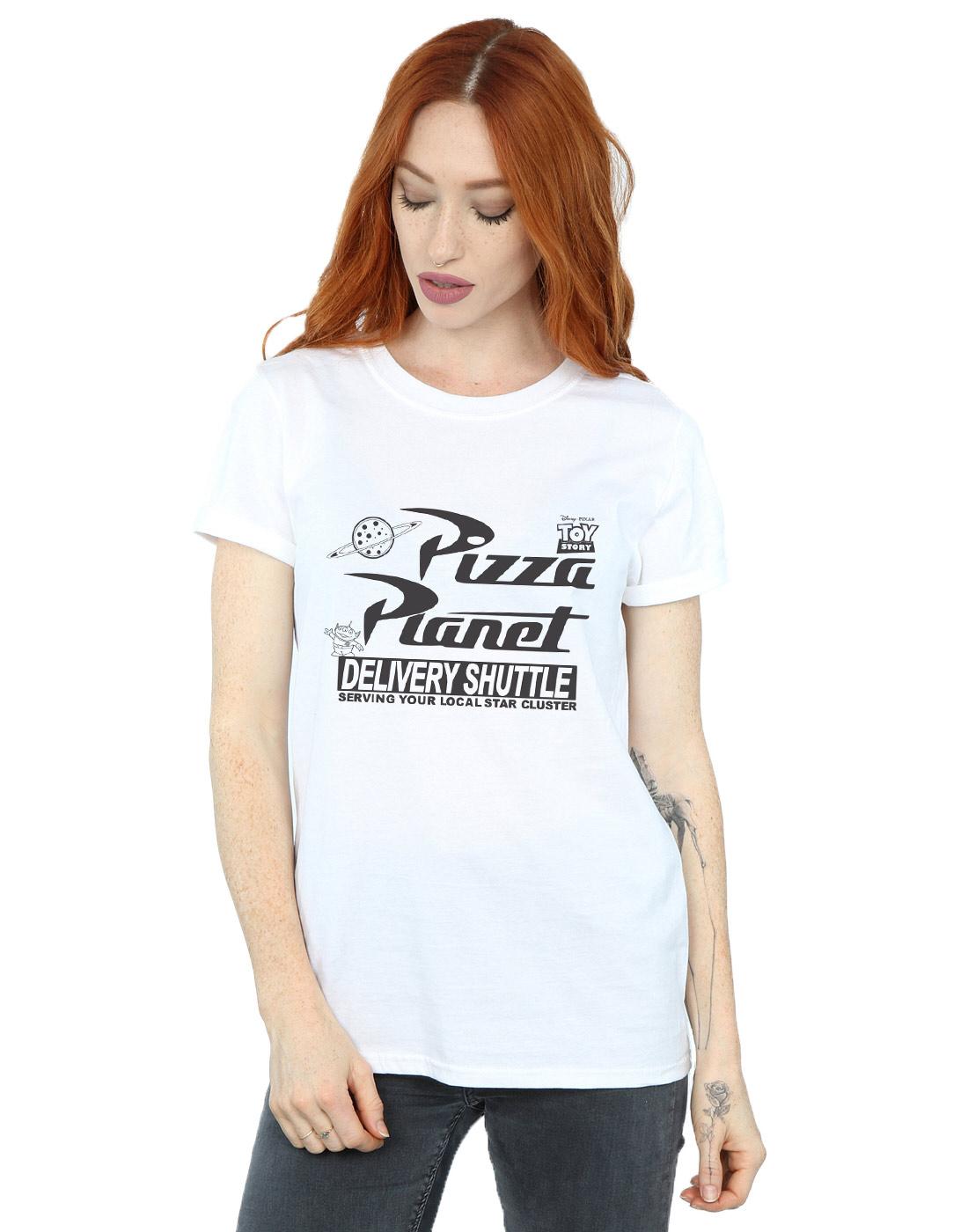 Disney-Women-039-s-Toy-Story-Pizza-Planet-Logo-Boyfriend-Fit-T-Shirt