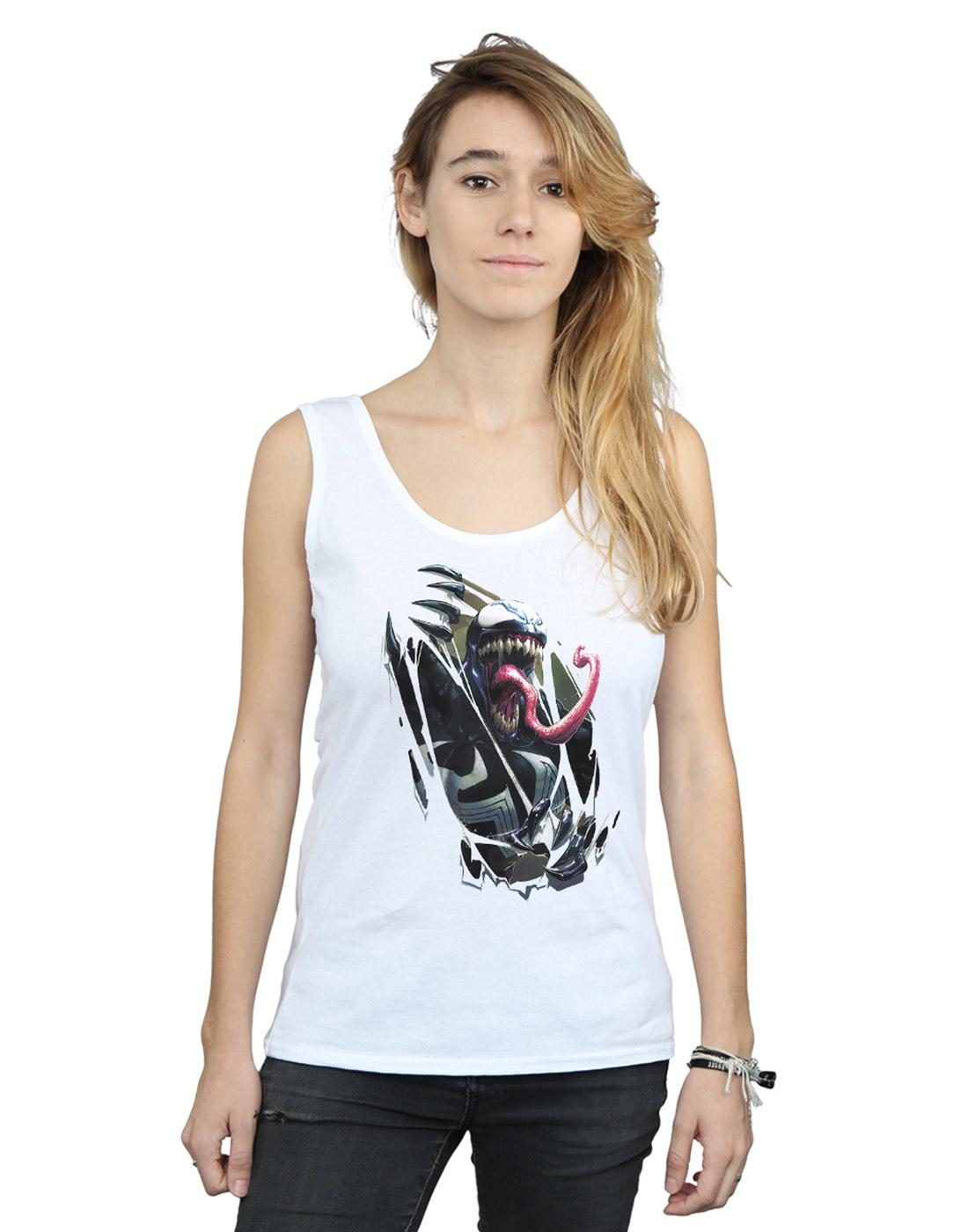 Marvel-Women-039-s-Venom-Chest-Burst-Tank-Top