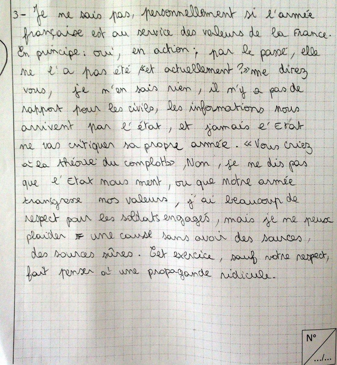 """L'image montrant la réponse d'un élève de 3e à la question du brevet : """"Montrez que l'armée française est au service des valeurs de la République et de l'UE"""" est probablement un Hoax."""