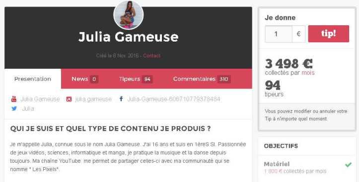 Le Tipeee de Julia Gameuse