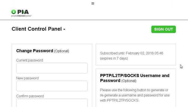 L'écran de connexion de Private Internet Access
