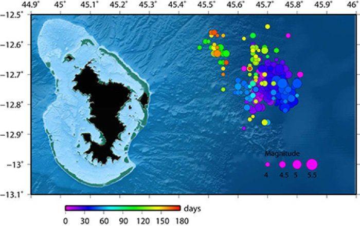 L'essaim de séismes à coté de Mayotte - Crédit : BRGM
